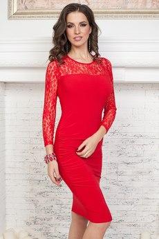 Красное платье с кружевом Angela Ricci