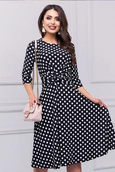Модное черное платье в горошек CHARUTTI