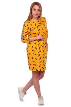 Горчичное платье со стрелками ElenaTex